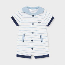 Load image into Gallery viewer, Knit onesie sailor print for newborn boy