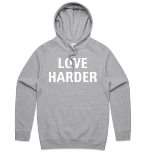 Grey Love Harder Hoodie