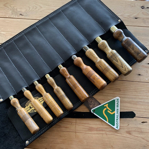 NEW! AUSTRALIAN made genuine leather CHISEL ROLL for 9 chisels
