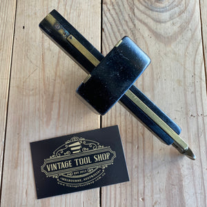 Antique vintage Fancy ebony brass Mortise mortice gauge hand tool