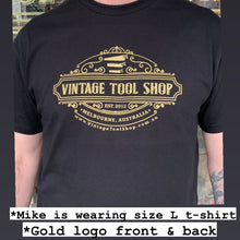 Load image into Gallery viewer, Black VINTAGE TOOL SHOP Gold logo 100% Cotton T-SHIRT