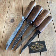 Load image into Gallery viewer, Vintage mixed English Set of 4 x MORTISE mortice CHISELS T10035