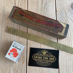 Antique ARKANSAS WASHITA Natural Sharpening STONE original PIKE label A47
