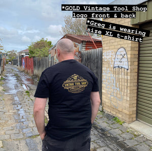 Black VINTAGE TOOL SHOP Gold logo 100% Cotton T-SHIRT