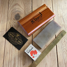 Load image into Gallery viewer, Vintage DANS HARD Transluscent ARKANSAS natural sharpening stone wooden box barber hone knife sharpening hand tool