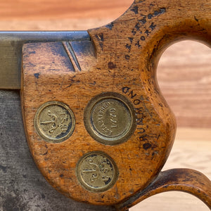 Premium Quality SHARP! Scarce RICHARD GROVES & SONS triple medallion TENON SAW S234