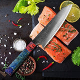 Damascus Steel 8'' Chef Knife with Colored Handle (40% Off)