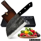 High Carbon Steel Chef's Knife with Full Forged Tang Handle & Handcrafted Sheath