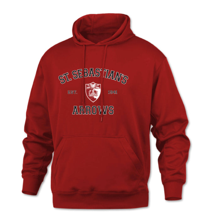 Sweatshirt-Performance Hoodie- Red