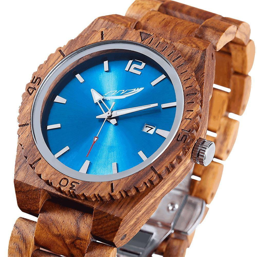 trendy-titan - Men's Personalized Engrave Ambila Wood Watches - Custom Engraving - Wilds Wood - Men - Accessories - Watches