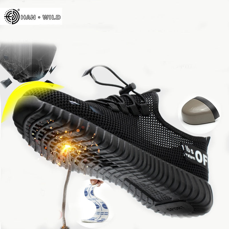 Men's Breathable Work Safety Shoes Men Outdoor Anti-slip Steel Puncture Proof Construction Safety Boots Shoes