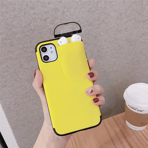 2 In 1 iPhone Case with Earphone Storage