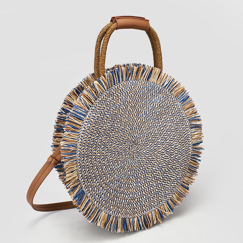 Fashion tassel Handbag Straw bag Women beach woven bag Round Tote fringed Shoulder Travel bag