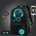 Anime Luminous USB Charge Laptop Computer Backpack For Teenager