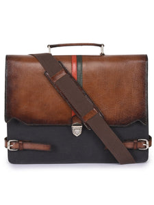 trendy-titan - Phive Rivers Men's Leather and Canvas Charcoal and Tan Laptop Bag - Phive Rivers - Men - Bags - Crossbody
