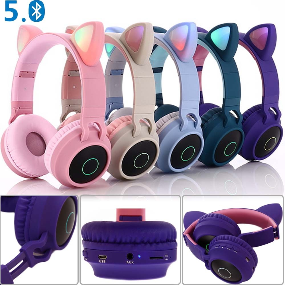 Cat Ear LED Bluetooth Headphone
