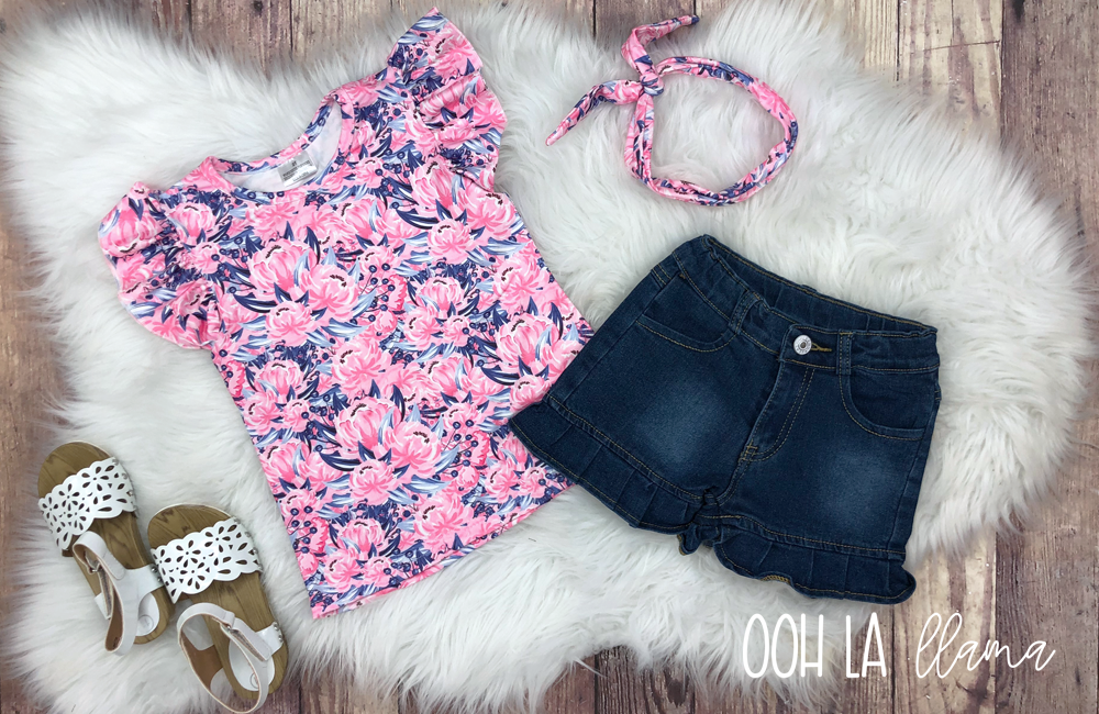 """Callie"" Ruffle Denim Short Set"