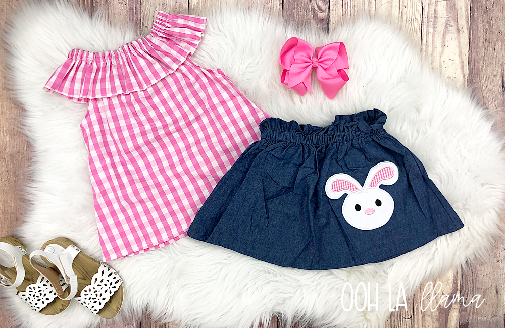 Gingham Bunny Skirt Set