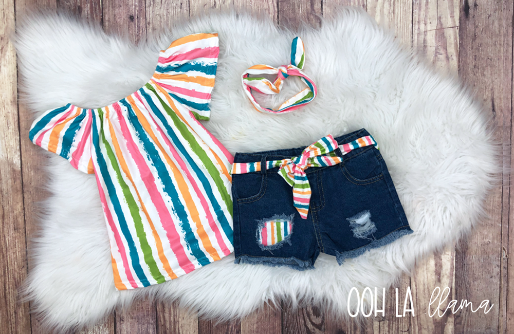 Rainbow Stripe Short Set