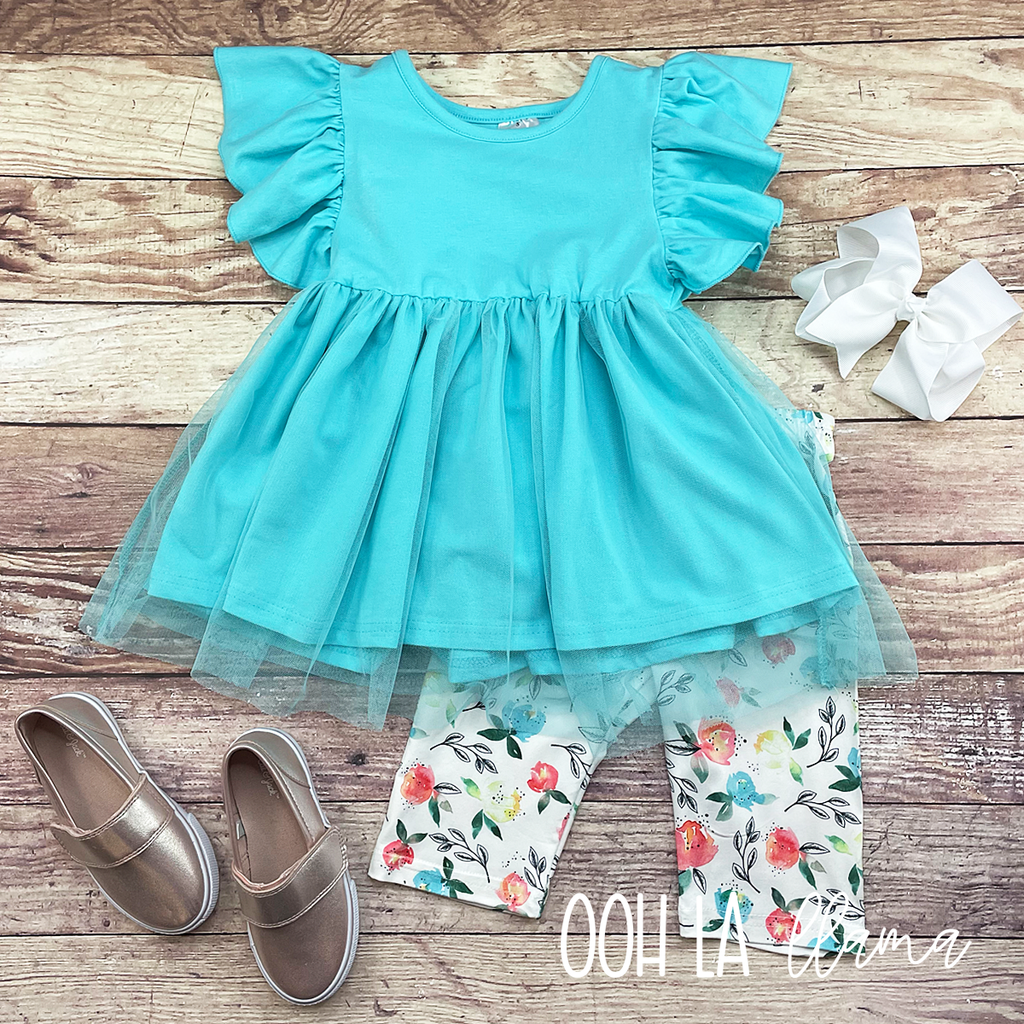 Teal Tulle Floral Set