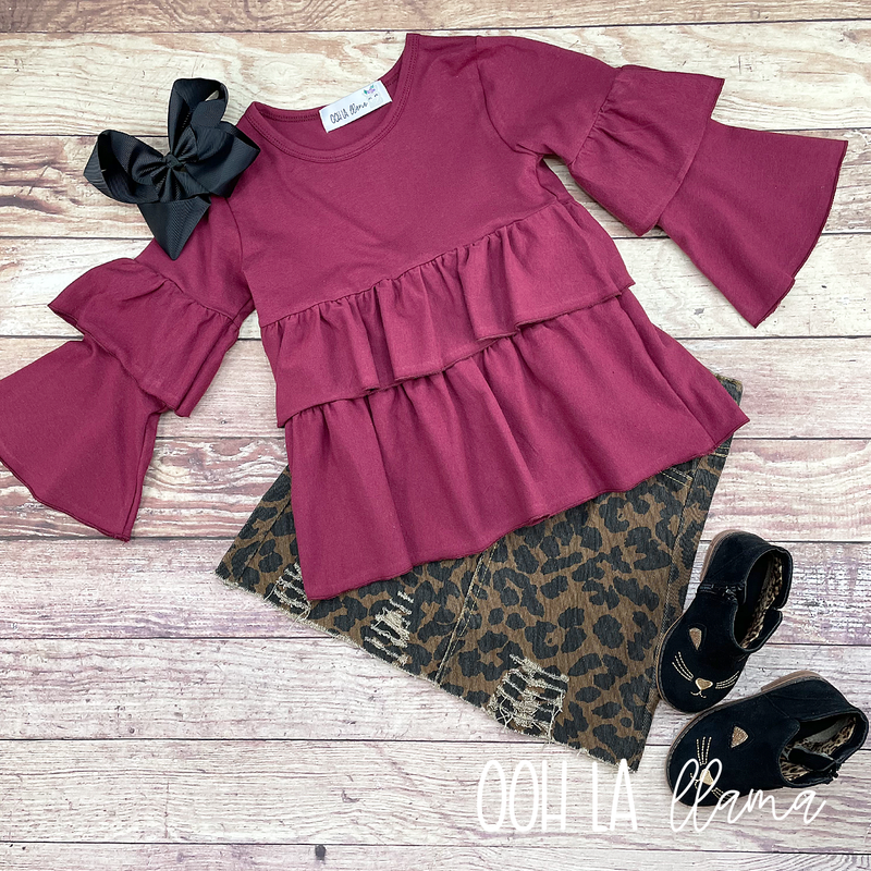 Cheetah Denim Skirt Set