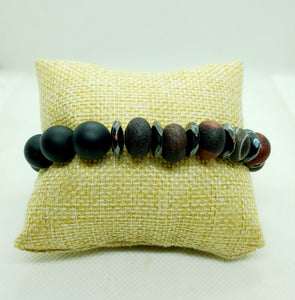 Onyx and Rondelle Stretch Bracelet