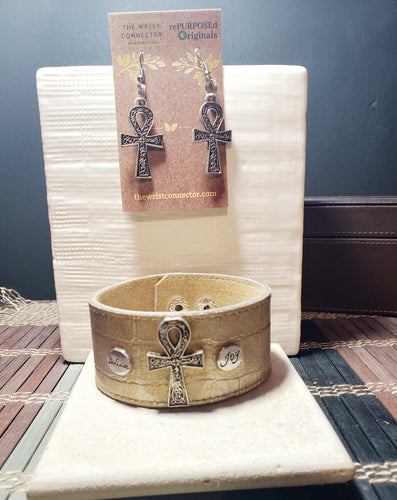 Ankh rePURPOSEd Originals Cuff Bracelet and Earring Set