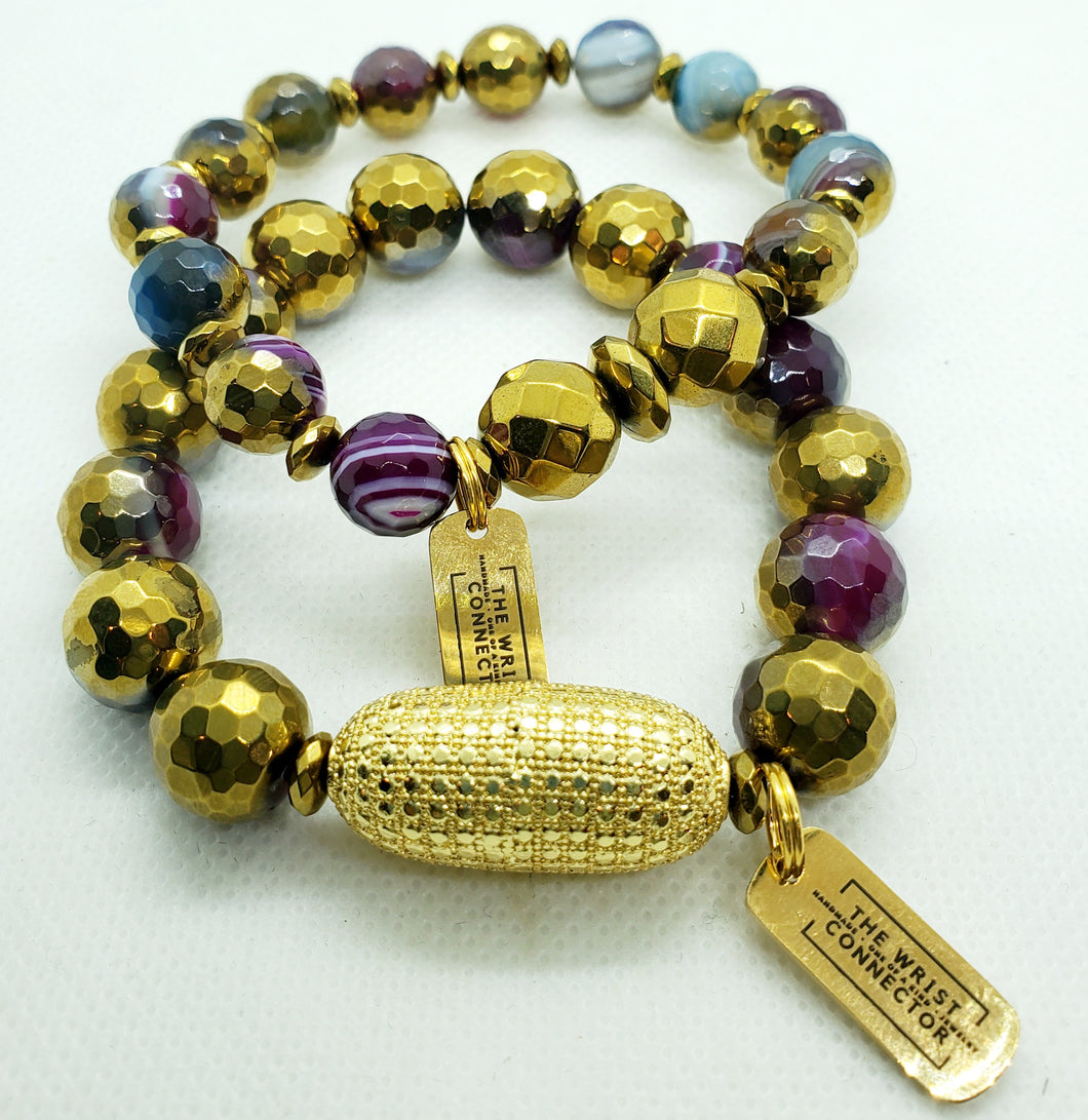 Electroplated Purple and Gold Stretch Bracelet Set