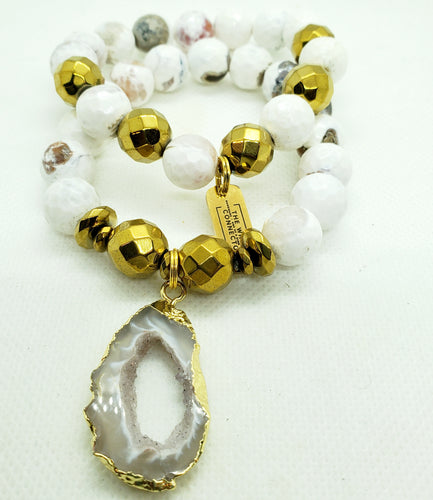 White and Gold Geode Stretch Bracelet Set