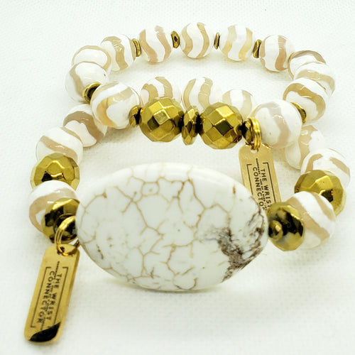 Shell and White Swirl Stretch Bracelet Set