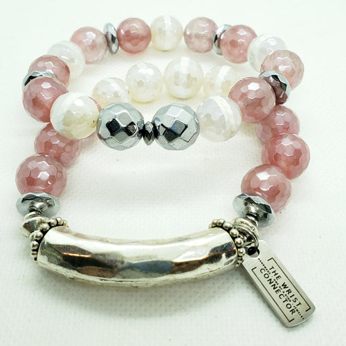 Electroplated Pink and White Stretch Bracelet Set
