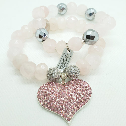 Rose Quartz and Hematite Heart Stretch Bracelet Set