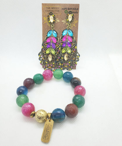 Peacock Stretch Bracelet and Earring Set