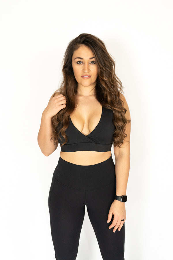 Deep V-Shape Sports Bra- Noire