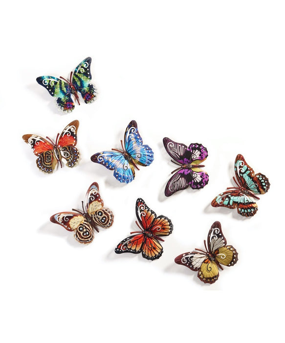 Metal Butterfly Wall Plaque - Small, Varied Colours