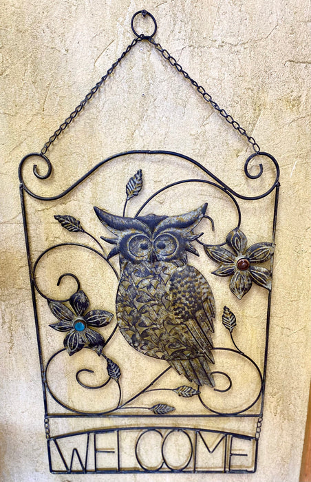 Metal Owl Welcome Sign
