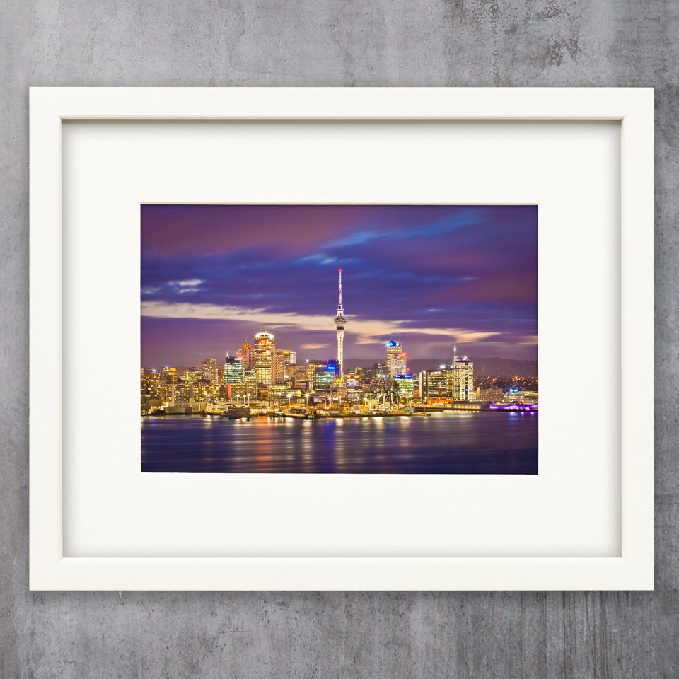 A4 framed print - Auckland Skyline from Mount Victoria