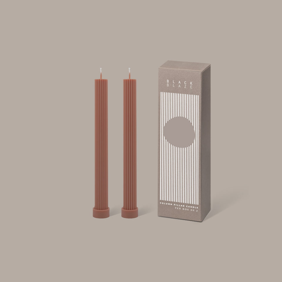 Black Blaze Column Pillar Candle Duo - Peach