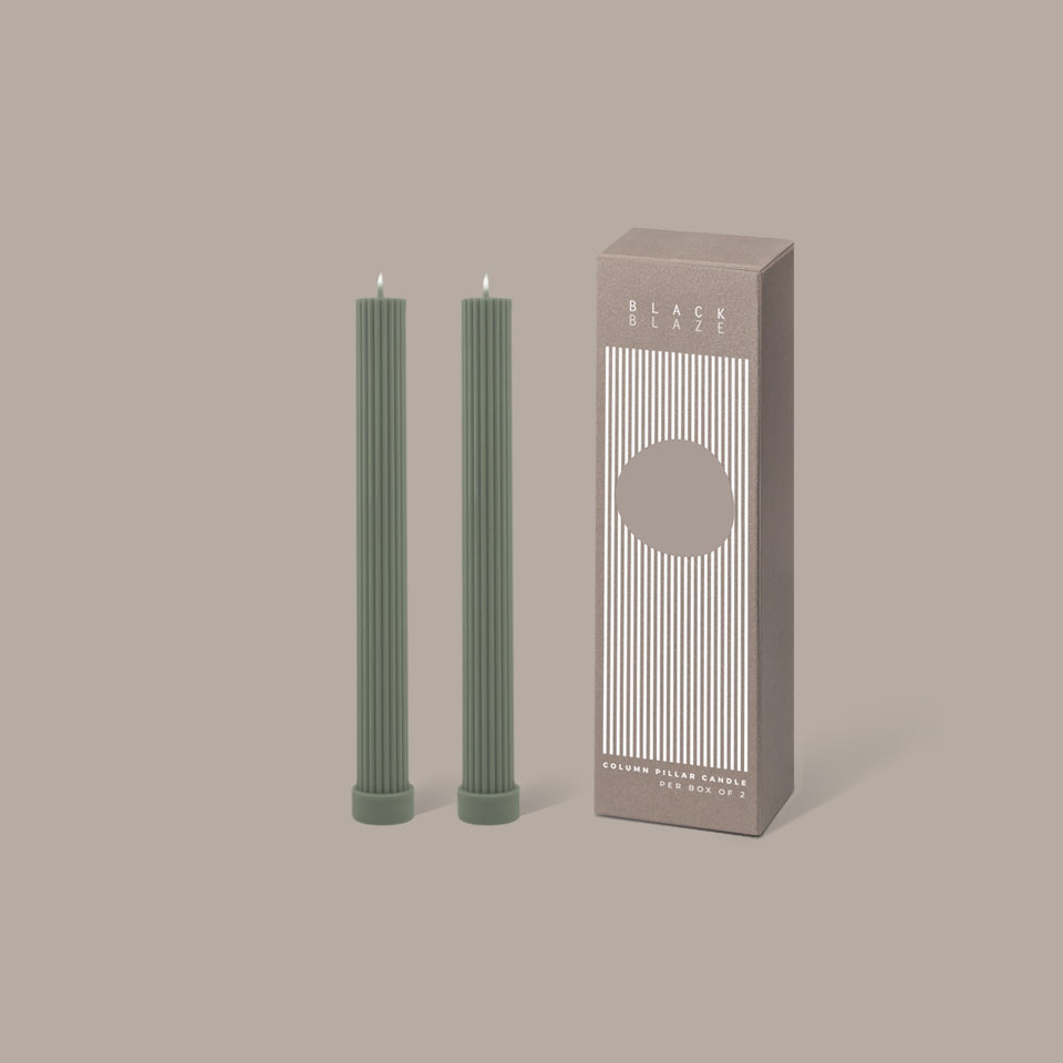 Black Blaze Column Pillar Candle Duo - Eucalyptus