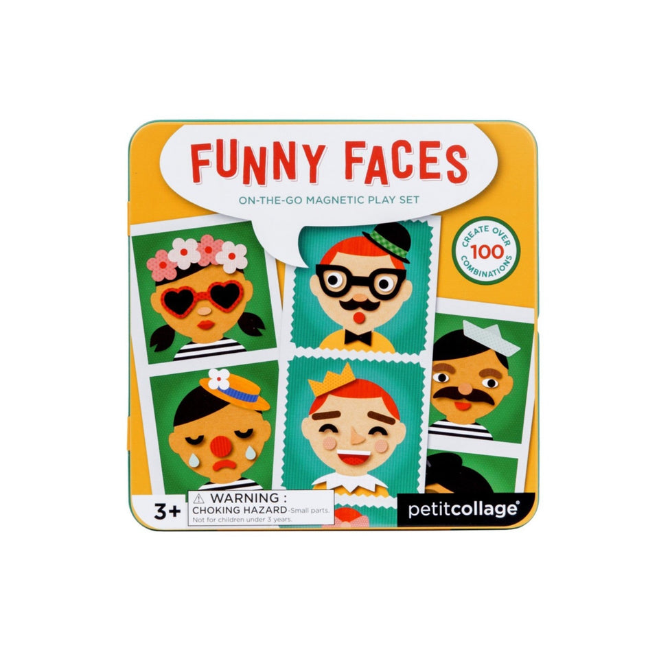 Petit Collage Funny Faces On The Go Magnetic Play Set