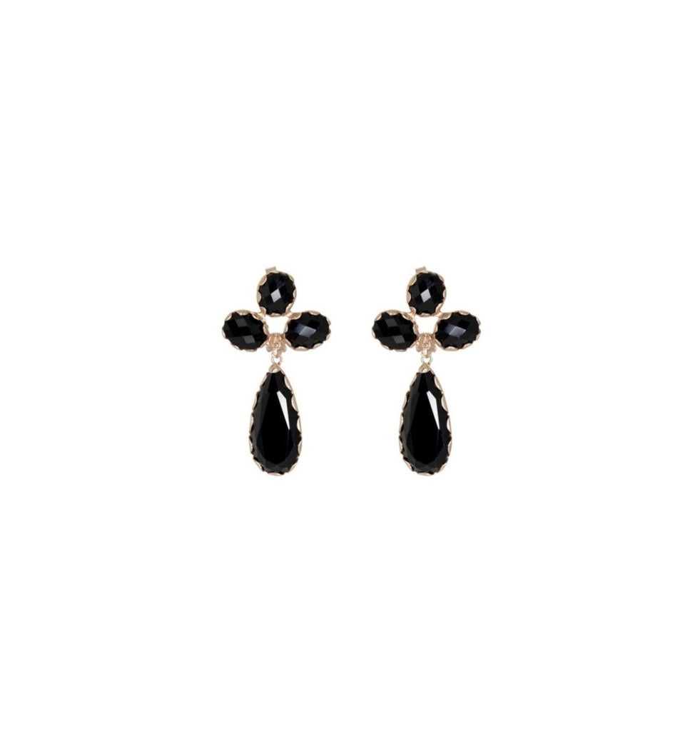 Black Triple Drop Earrings