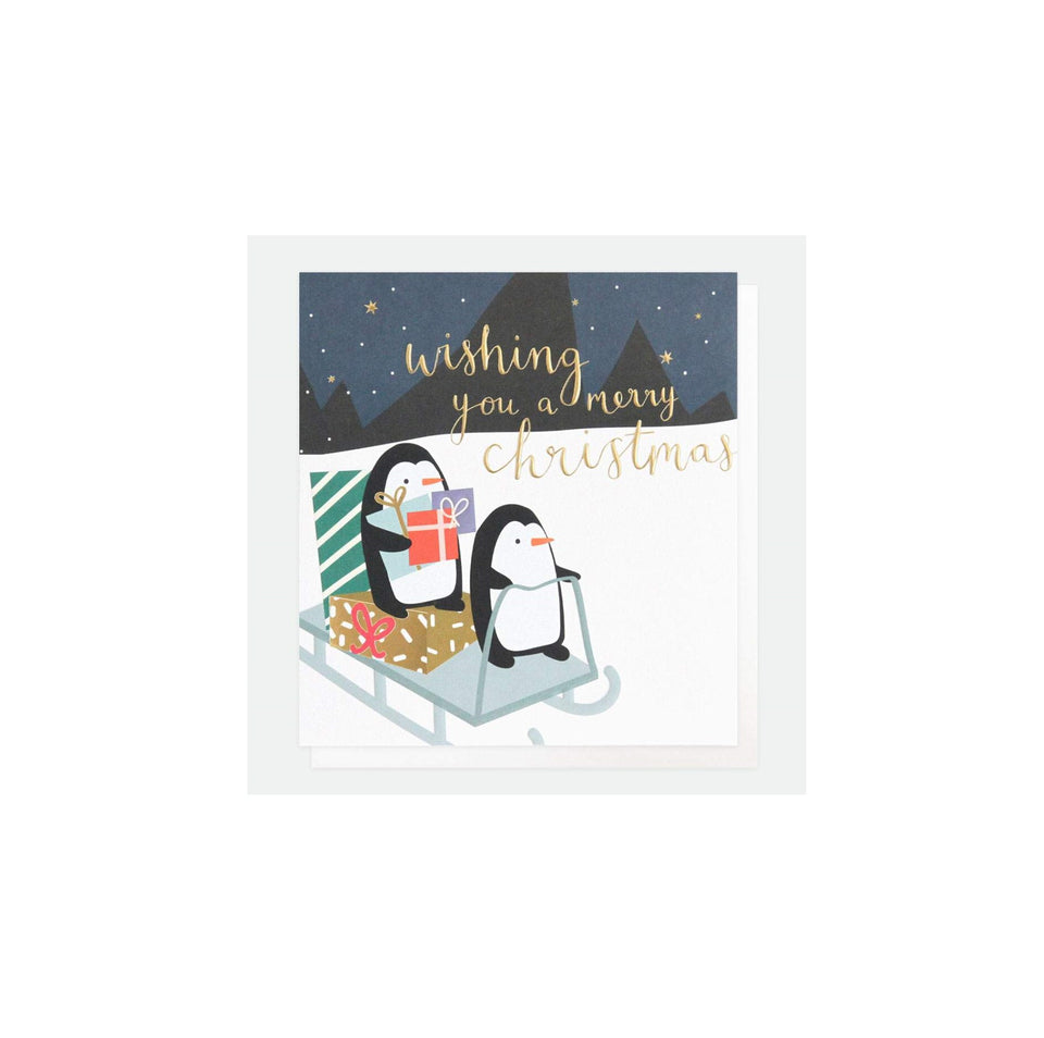 Penguin Sledge Christmas Card Pack of 8