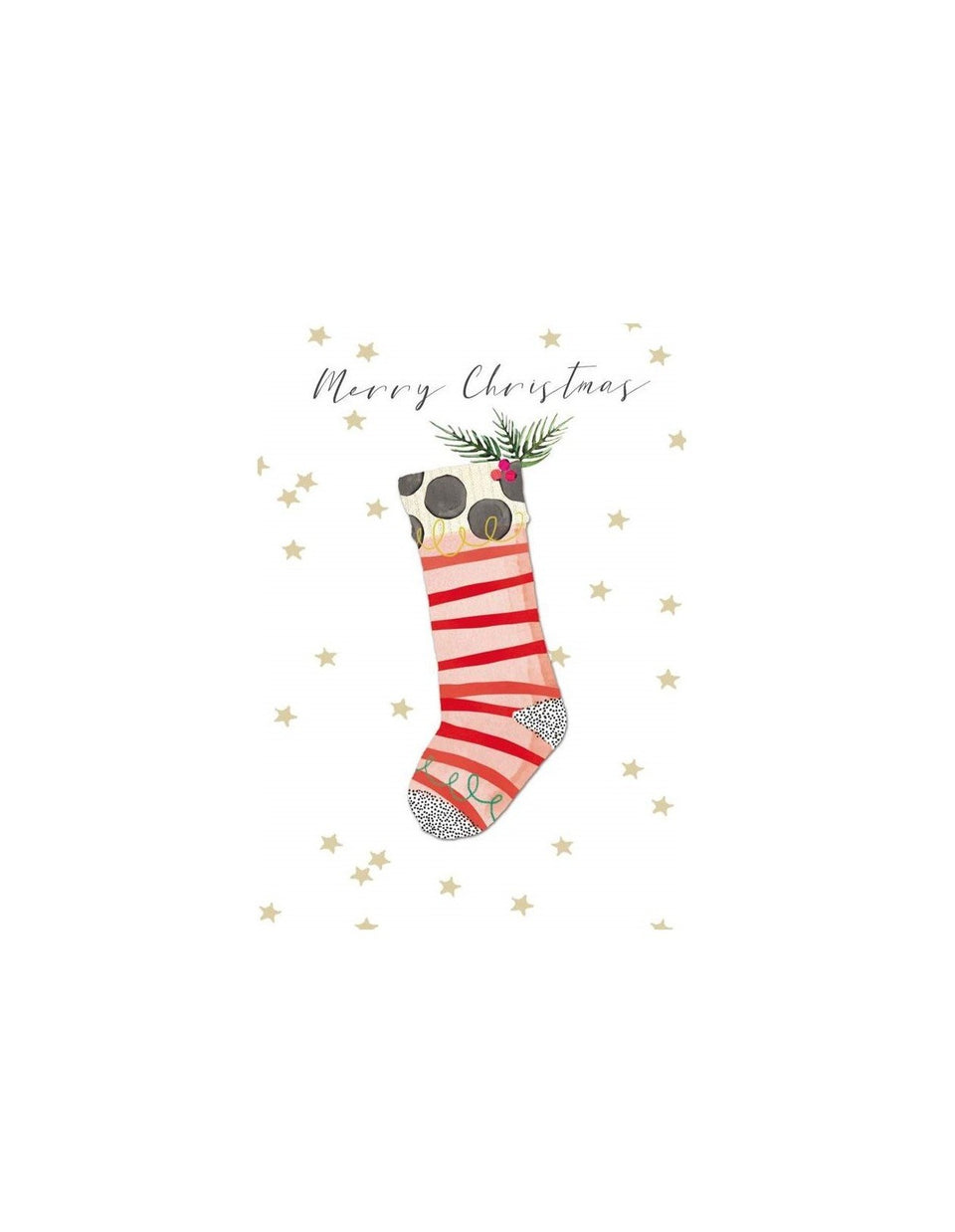 Pink Striped Stocking 5 Pkt - Christmas Card Pack