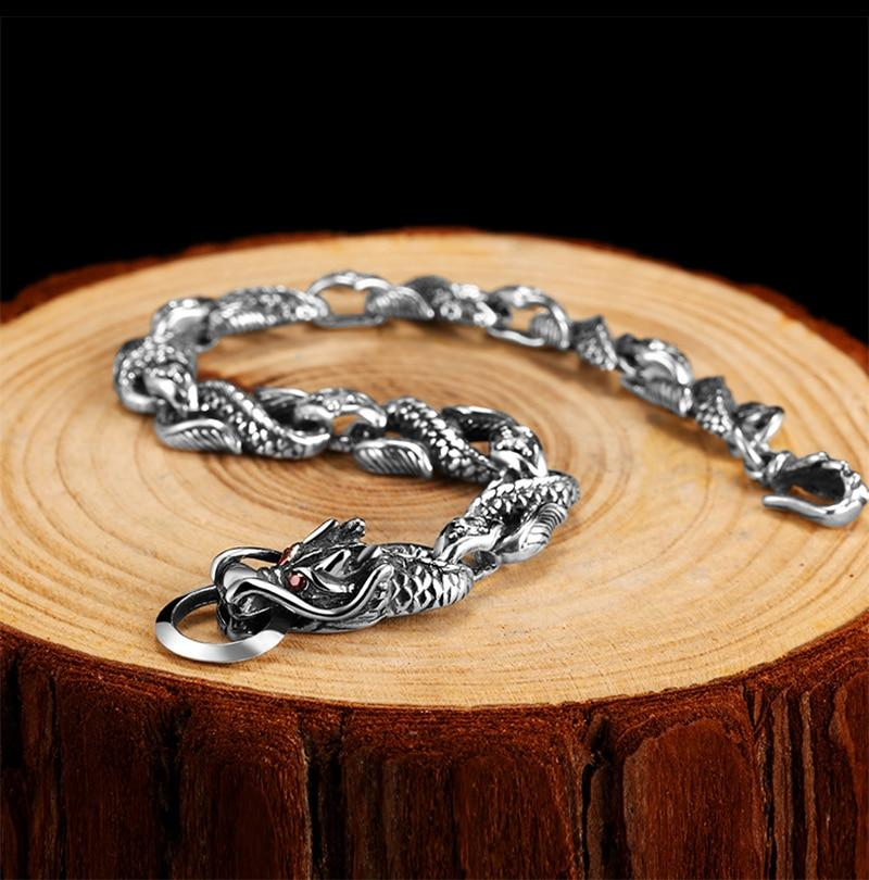 Bracelet Dragon  argent 925 BLACKWORK