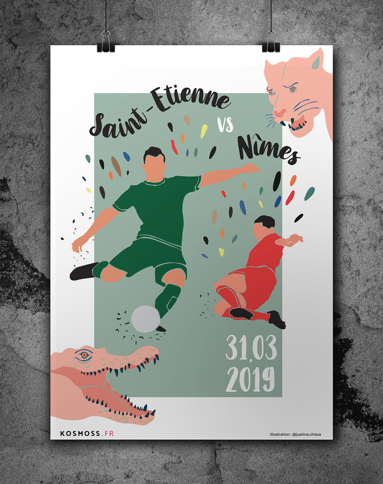 Saint-Étienne vs Nîmes - Affiches sports design - vintages & entrepreneuriales