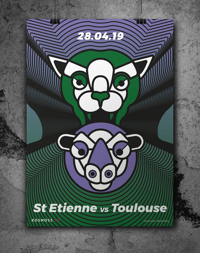St-Étienne vs Toulouse - Affiches sports design - vintages & entrepreneuriales