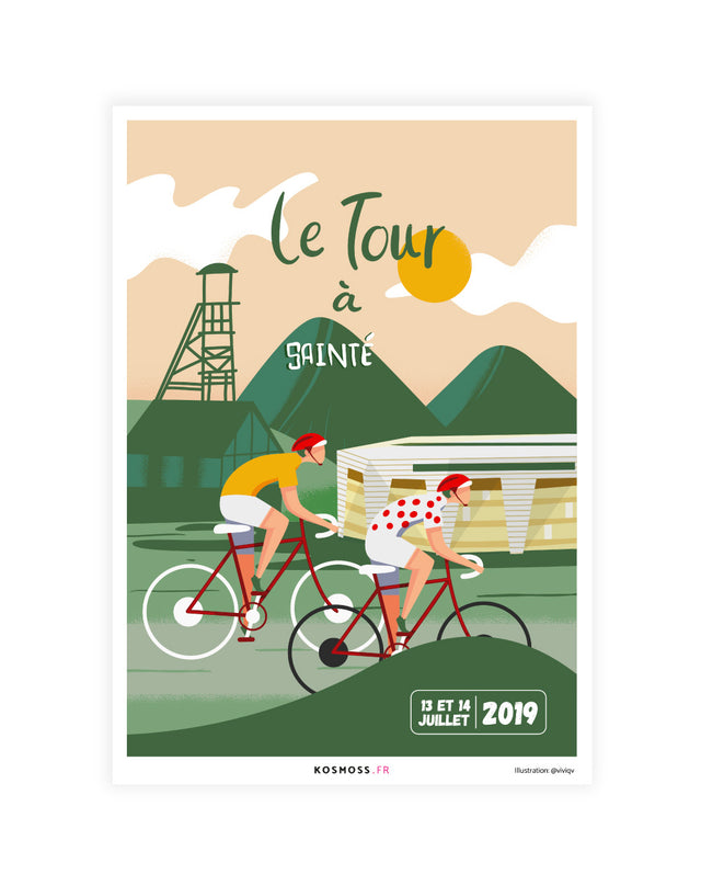 Le Tour à Sainté - Affiches sports design - vintages & entrepreneuriales