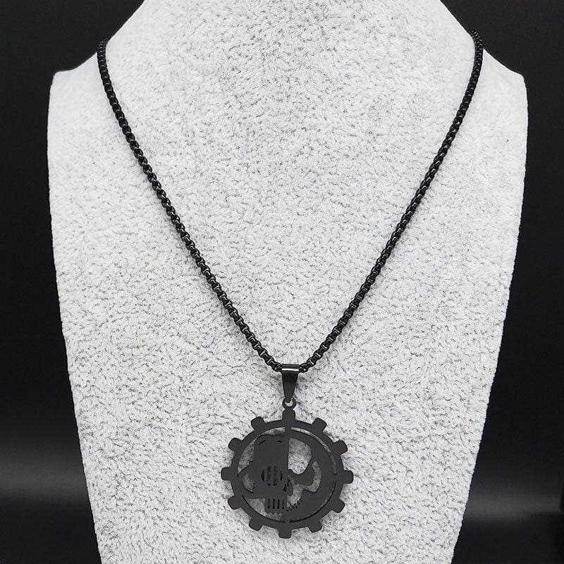 COLLIER MILITAIRE ENGRENAGE (ACIER INOXYDABLE)