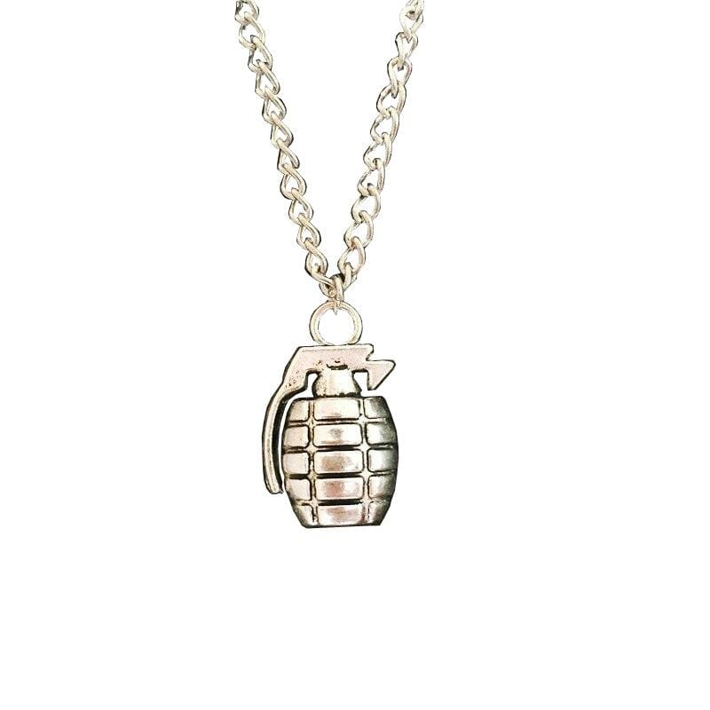COLLIER MILITAIRE - GRENADE (ARGENT)