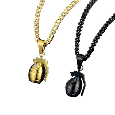 COLLIER MILITAIRE - GRENADE (OR)